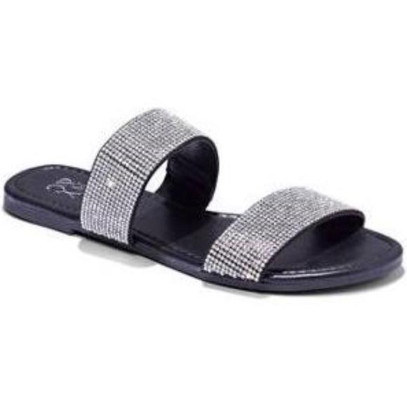 Nyco Womens Doublestrap Glitter Slide
